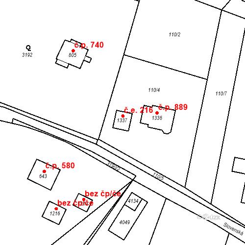 Katastrální mapa Stavební objekt Hranice 216, Hranice