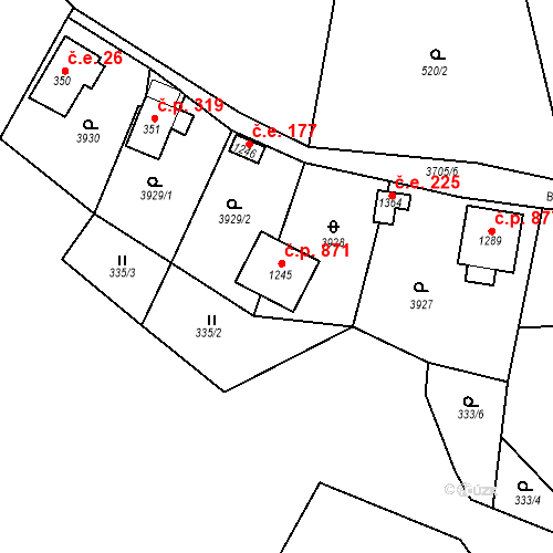 Katastrální mapa Stavební objekt Hranice 871, Hranice