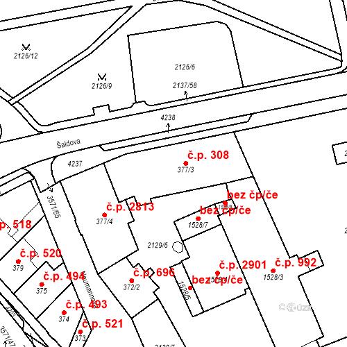 Katastrální mapa Stavební objekt Aš 308, Aš