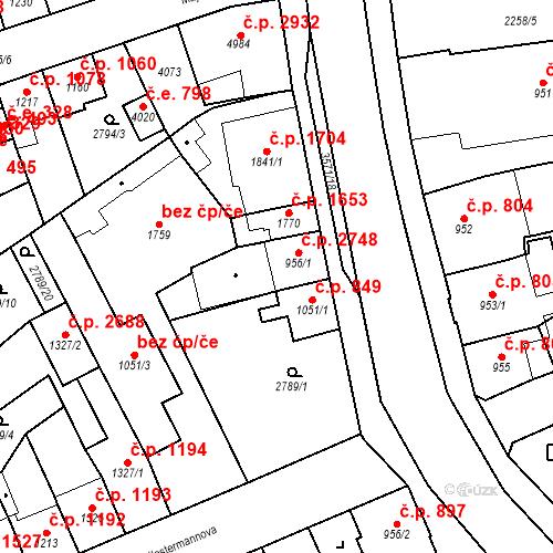Katastrální mapa Stavební objekt Aš 2748, Aš