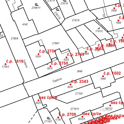 Katastrální mapa Stavební objekt Aš 2749, Aš