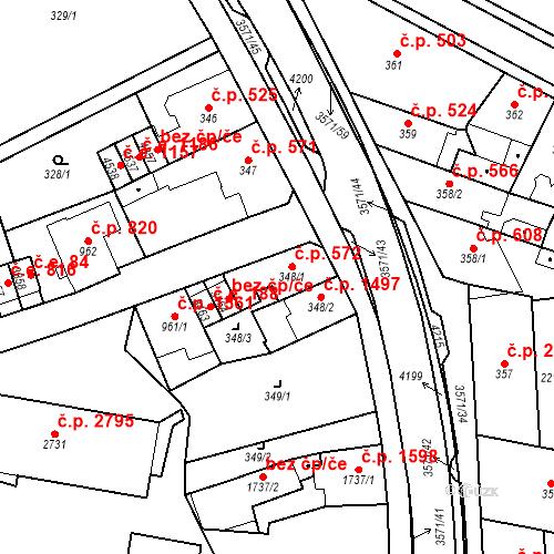 Katastrální mapa Stavební objekt Aš 572, Aš