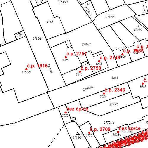 Katastrální mapa Stavební objekt Aš 2750, Aš