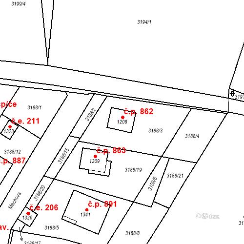 Katastrální mapa Stavební objekt Hranice 862, Hranice