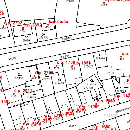 Katastrální mapa Stavební objekt Aš 1853, Aš
