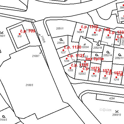 Katastrální mapa Stavební objekt Aš 1121, Aš