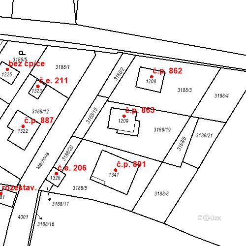 Katastrální mapa Stavební objekt Hranice 863, Hranice