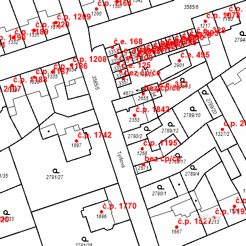 Katastrální mapa Stavební objekt Aš 1842, Aš