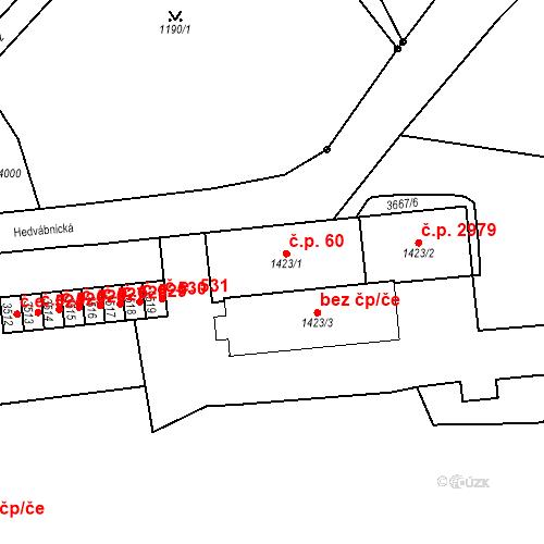 Katastrální mapa Stavební objekt Aš 60, Aš