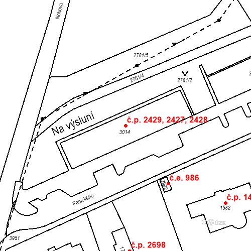 Katastrální mapa Stavební objekt Aš 2427, 2428, 2429, Aš