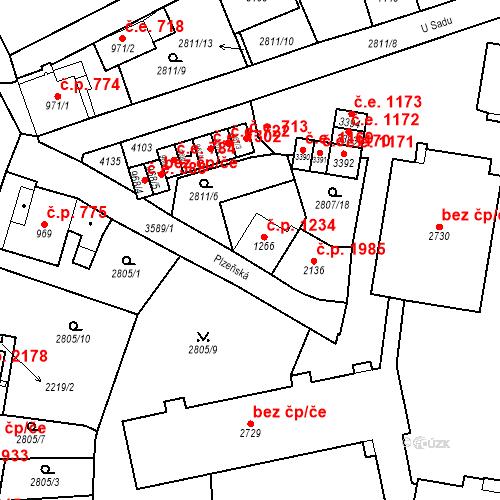 Katastrální mapa Stavební objekt Aš 1234, Aš