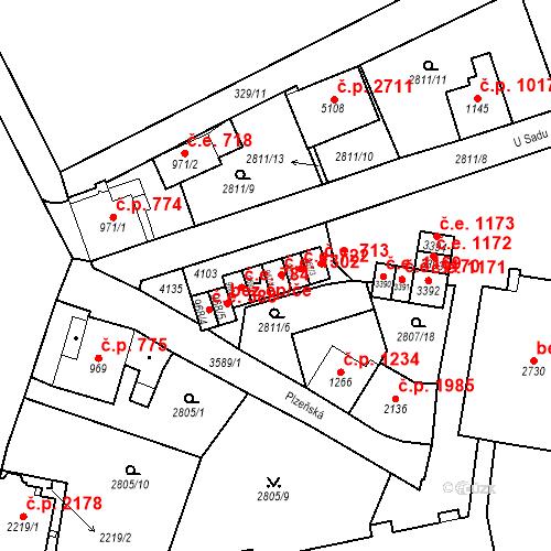 Katastrální mapa Stavební objekt Aš 1302, Aš