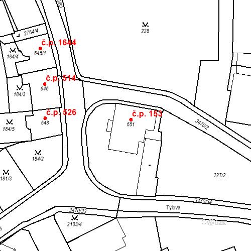 Katastrální mapa Stavební objekt Aš 153, Aš