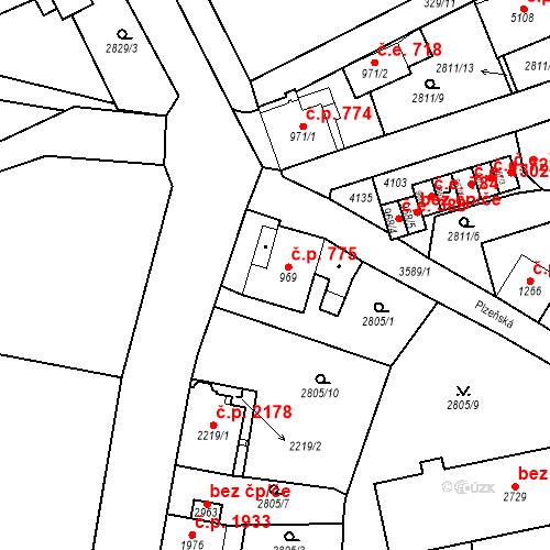 Katastrální mapa Stavební objekt Aš 775, Aš