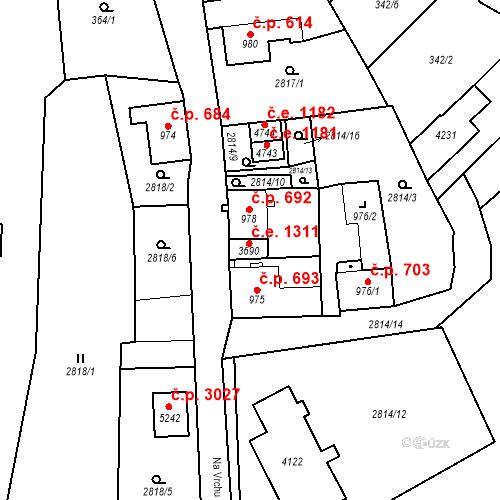 Katastrální mapa Stavební objekt Aš 1311, Aš