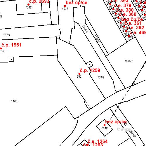 Katastrální mapa Stavební objekt Aš 1259, Aš