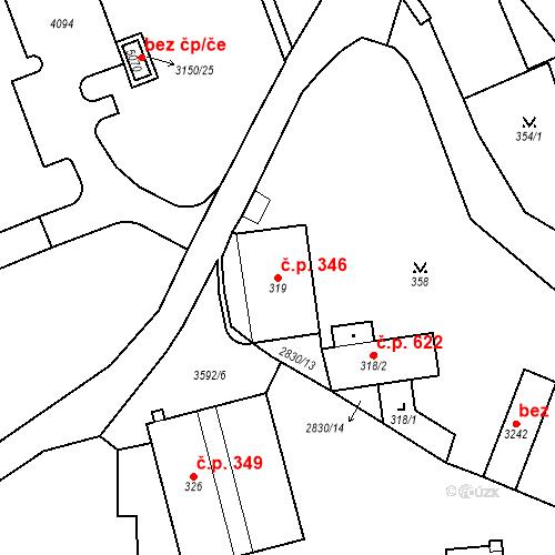 Katastrální mapa Stavební objekt Aš 346, Aš