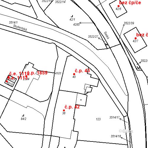 Katastrální mapa Stavební objekt Aš 43, Aš