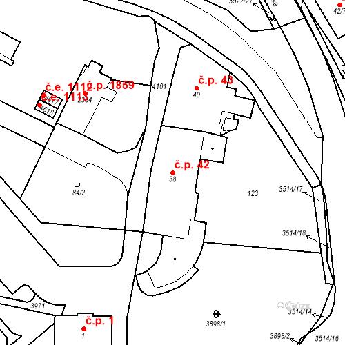 Katastrální mapa Stavební objekt Aš 42, Aš
