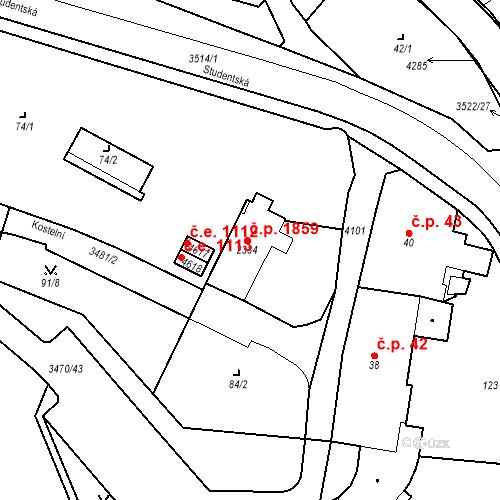 Katastrální mapa Stavební objekt Aš 1859, Aš