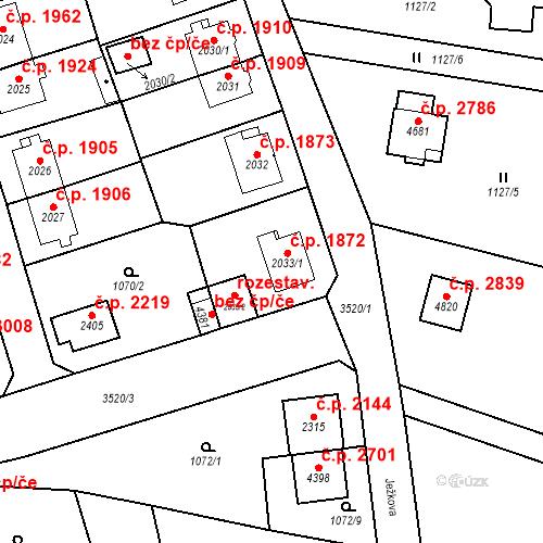 Katastrální mapa Stavební objekt Aš 1872, Aš