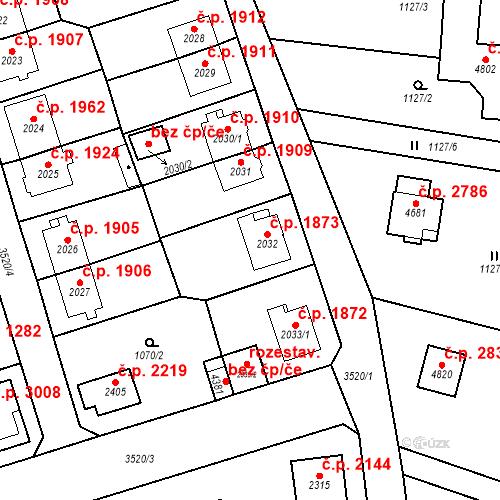 Katastrální mapa Stavební objekt Aš 1873, Aš