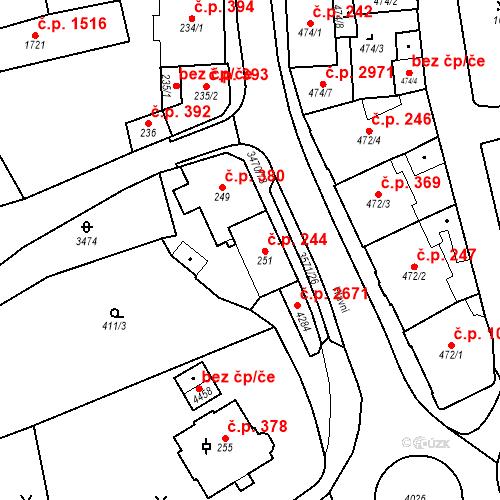 Katastrální mapa Stavební objekt Aš 244, Aš