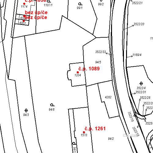 Katastrální mapa Stavební objekt Aš 1089, Aš