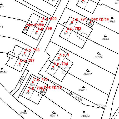 Katastrální mapa Stavební objekt Hranice 1, Hranice