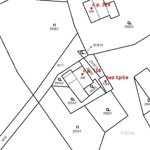 Katastrální mapa Stavební objekt Hranice 158, Hranice