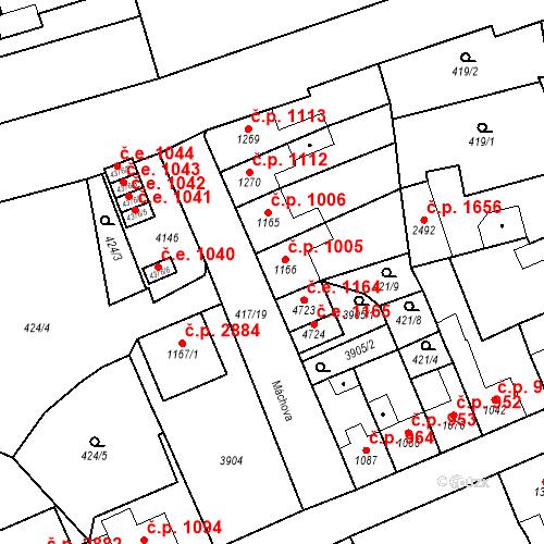 Katastrální mapa Stavební objekt Aš 1005, Aš