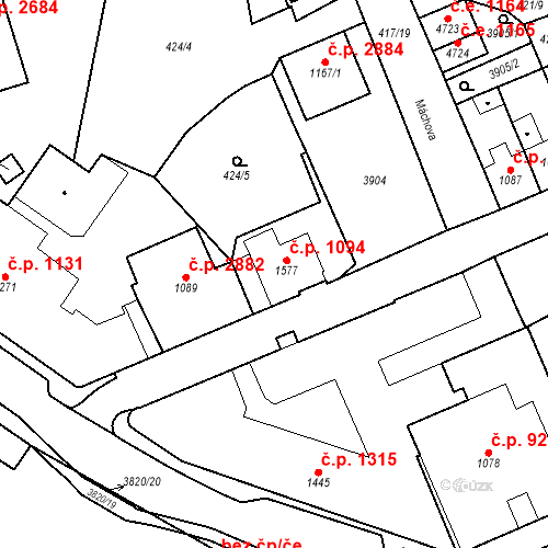Katastrální mapa Stavební objekt Aš 1094, Aš