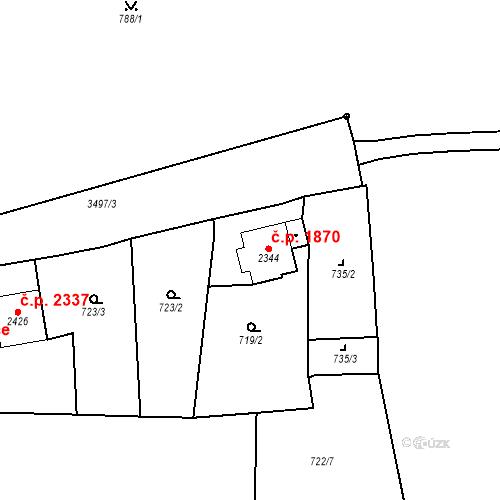 Katastrální mapa Stavební objekt Aš 1870, Aš