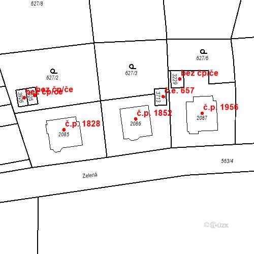 Katastrální mapa Stavební objekt Aš 1852, Aš
