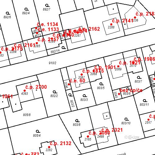 Katastrální mapa Stavební objekt Aš 1875, Aš