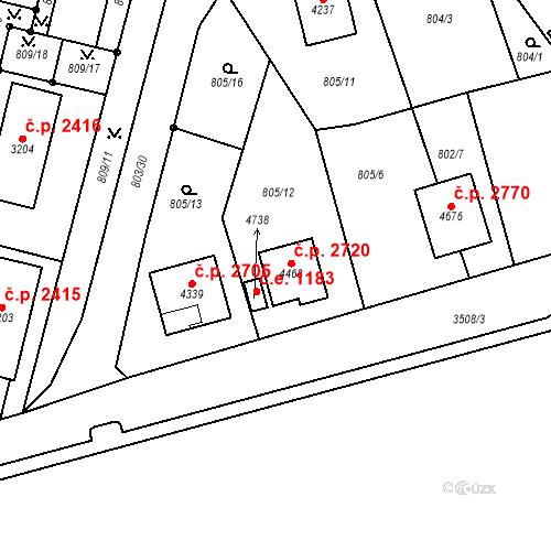 Katastrální mapa Stavební objekt Aš 2720, Aš