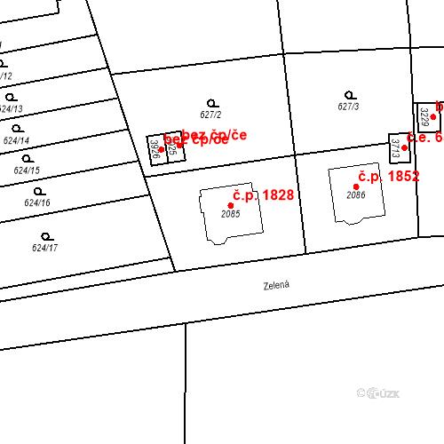 Katastrální mapa Stavební objekt Aš 1828, Aš