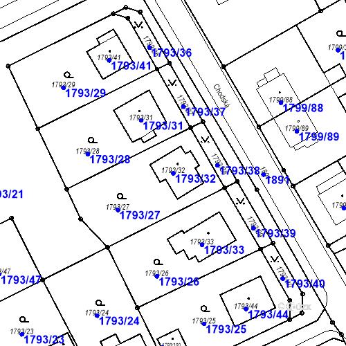 Katastrální mapa Parcela 1793/32 na katastrálním území Karviná-město
