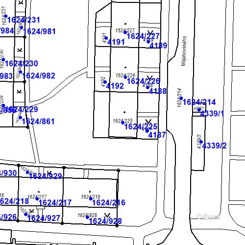 Katastrální mapa Parcela 1624/225 na katastrálním území Karviná-město