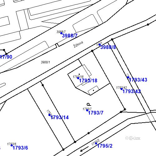 Katastrální mapa Parcela 1793/18 na katastrálním území Karviná-město