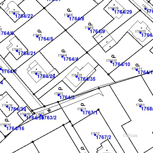 Katastrální mapa Parcela 1764/35 na katastrálním území Karviná-město