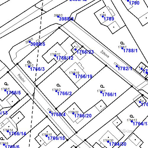 Katastrální mapa Parcela 1766/19 na katastrálním území Karviná-město