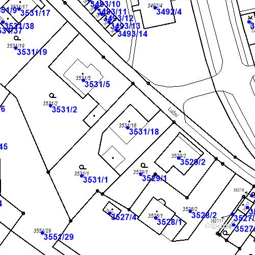 Katastrální mapa Parcela 3531/18 na katastrálním území Karviná-město