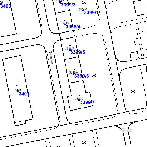 Katastrální mapa Parcela 3399/6 na katastrálním území Karviná-město