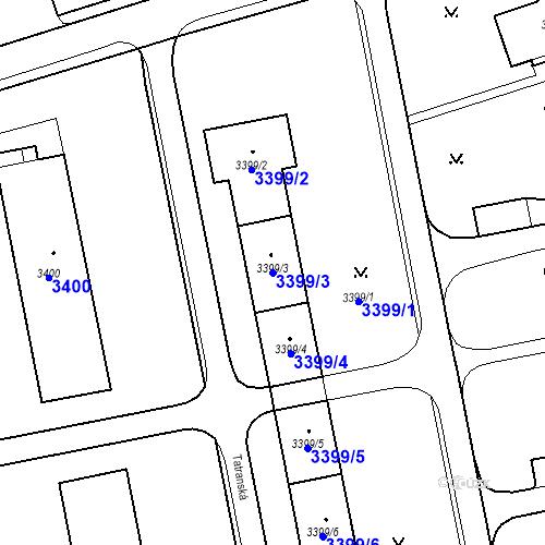 Katastrální mapa Parcela 3399/3 na katastrálním území Karviná-město