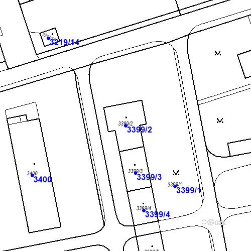 Katastrální mapa Parcela 3399/2 na katastrálním území Karviná-město