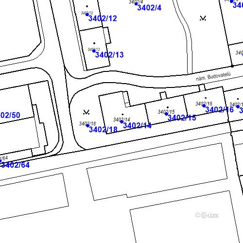 Katastrální mapa Parcela 3402/14 na katastrálním území Karviná-město