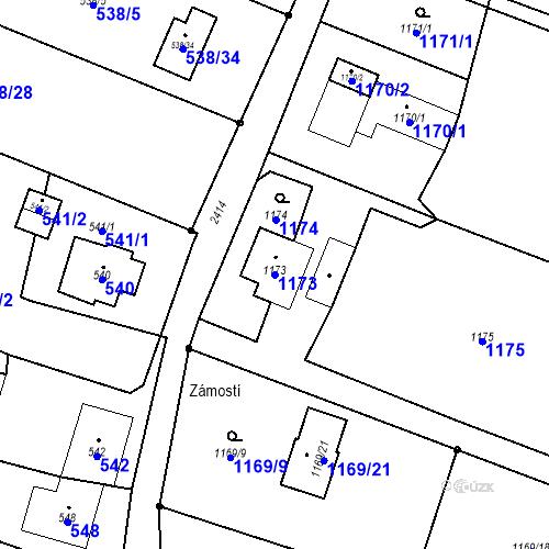 Katastrální mapa Parcela 1173 na katastrálním území Albrechtice u Českého Těšína