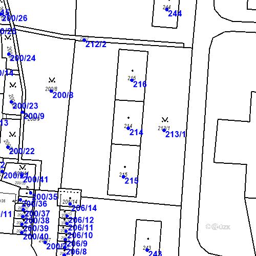 Katastrální mapa Parcela 214 na katastrálním území Albrechtice u Českého Těšína