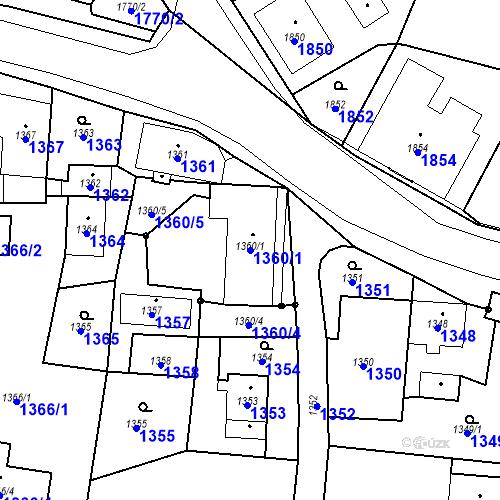 Katastrální mapa Parcela 1360/1 na katastrálním území Skřečoň